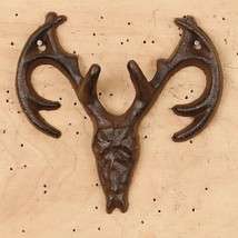 Cast Iron Trophy Hunter Double Hook Wall Mount Rustic Brown Cabin Decor - $7.91