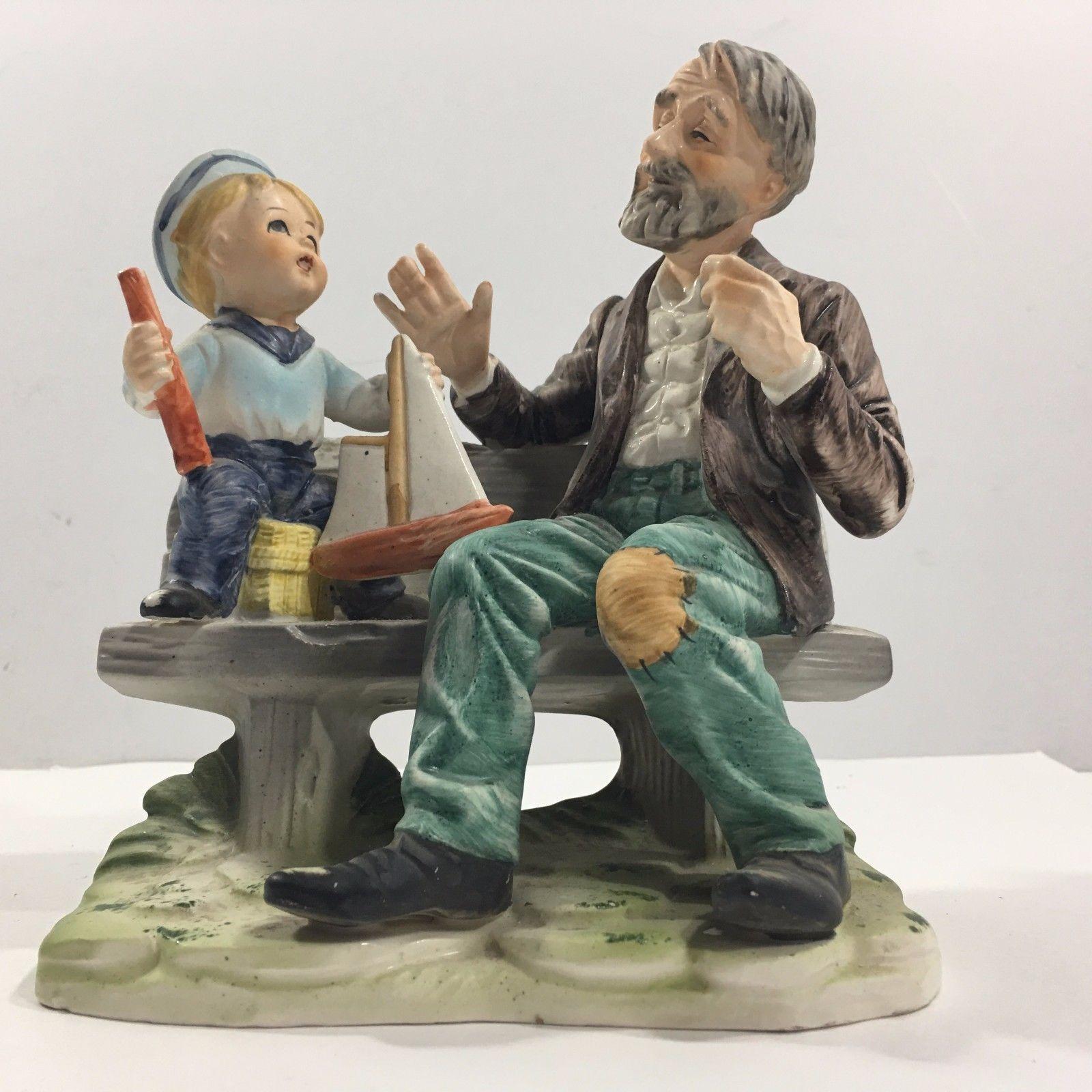 Vintage Porcelain Figurine, Man & Boy on Bench w Toy ...