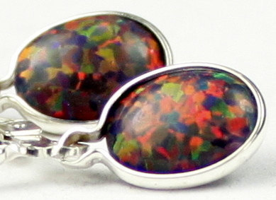 Primary image for SE001, 8x6mm Created Black Opal, 925 Sterling Silver Leverback Earrings
