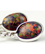 SE001, 8x6mm Created Black Opal, 925 Sterling Silver Leverback Earrings - £38.49 GBP