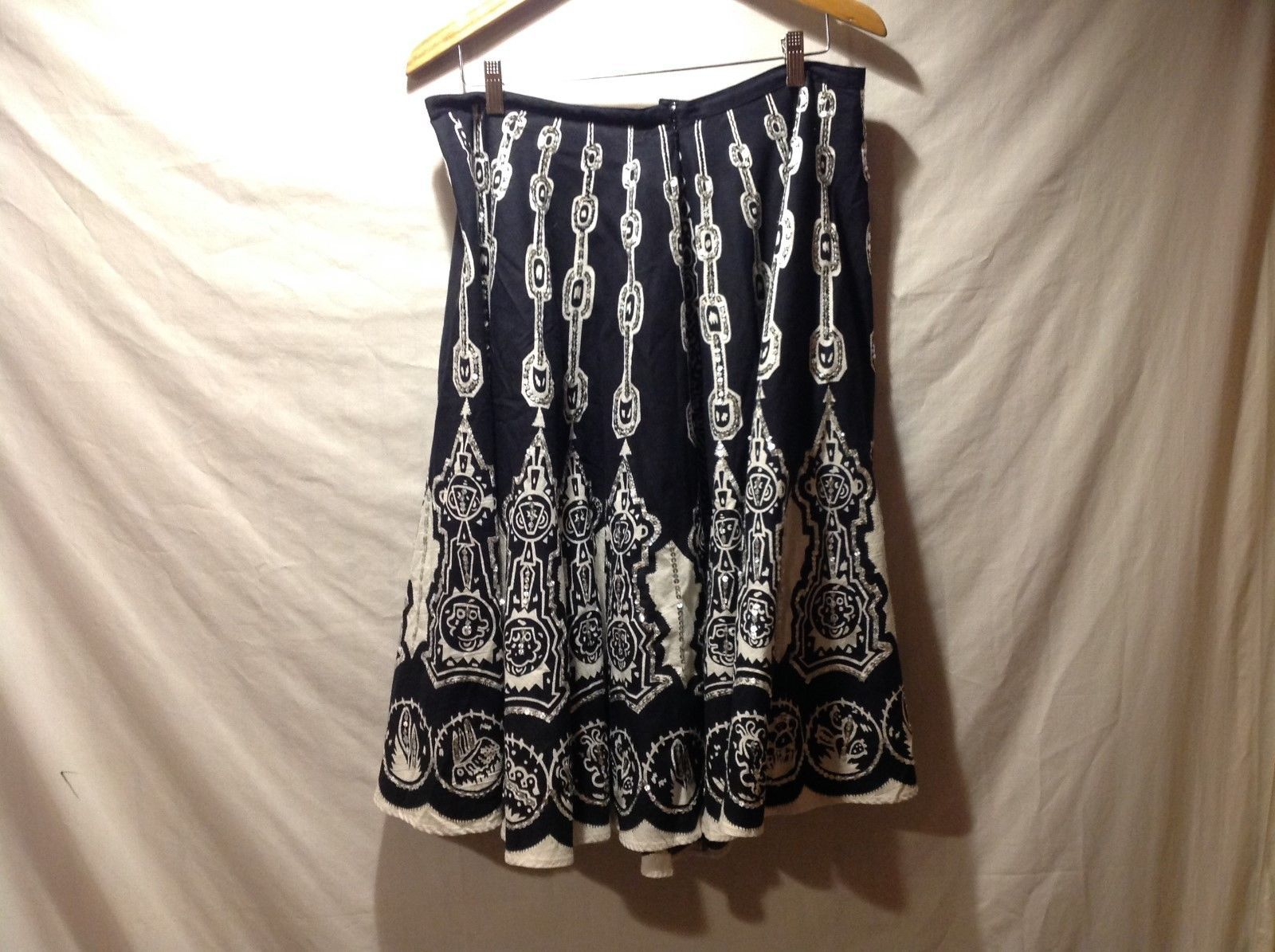 DIMRI Black/White Chain Pattern Sequined Skirt 100% Cotton Size 16