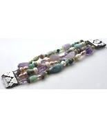 Handmade Vintage Pearl Semi Precious Gemstone Beaded Bracelet Sterling S... - $148.50