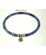 Blue Ribbon Yarn Wrapped Bangle Bracelet Silver Rose Charm Ring Accents - $12.99