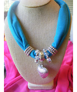 TURQUOISE ROLLED SCARF SILVER BEADS SILVER HOLLOW HEART CRYSTALS BEADED ... - $7.12