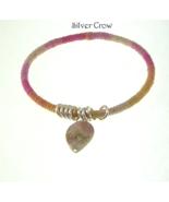 Variegated Pink Hemp Wrapped Bangle Bracelet Si... - $12.99