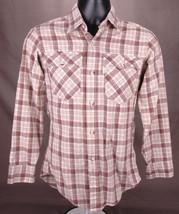 Vtg Levis Western Shirt-Plaid Flannel-S-Tan-Button Up-Cowboy Ranch Horse Farm... - $37.39