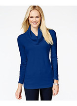 JM Collection Petite Textured Cowl-Neck Sweater. Blue, PET/XL - $27.42