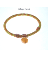 Orange Lime Green Hemp Wrapped Bangle Faceted G... - $12.99