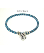 Variegated Blue Hemp Wrapped Bangle Silver Ring... - $12.99