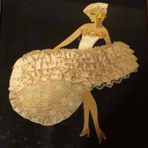 Art Deco French Fashion Silk Fabic Art Print Original OOAK 3D Framed Wal... - $80.00
