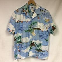 GUC Men's HILO HATTIE Hawaiian Button Up Shirt XL Palm Trees sail boats ... - $24.95