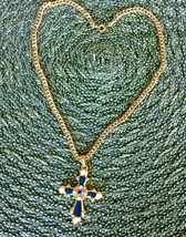 """Vintage Eastern Cross 18"""" Pendant with Blue Enamel & Pearl Accents - $24.95"""