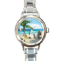 Ladies Round Italian Charm Bracelet Watch Palm Tree Beach Chair Guitar30... - $11.99