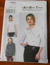 Pattern Vogue Designer Top Loose Fit Katherine Tilton V8834 Uncut - $14.74