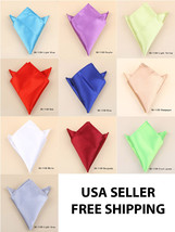 Solid Color Mens Satin Pocket Plain Square Handkerchief Hanky gentleman ... - $1.95