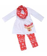 Unique Baby Girls 3 Piece Christmas Reindeer Legging Set (5T) White - $27.99