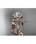 Rose gold Celtic trinity knot engagement ring, 14kt rose gold diamond ce... - $1,550.00