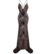 Stunning Great Gatsby Inspired Golden Blush/Bronze and Black Art Deco Gown - $139.00