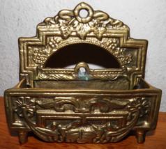 Antique Art Nouveau Brass Floral Desk/Wall Lett... - $54.74