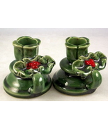 Vintage ceramic green holly berry candlestick t... - $20.00