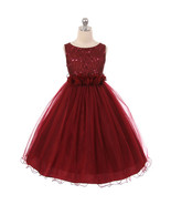 Burgundy Sequin Top Tulle Flower Girl Dance Holiday Bridesmaid Birthday ... - $48.00