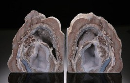 Mirror Image Dugway Geode Bookend SET 10 Inches! Brilliant Colors All Na... - $349.00