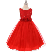 Red Sequin Top Tulle Flower Girl Dance Holiday Bridesmaid Birthday Party Dresses - $48.00