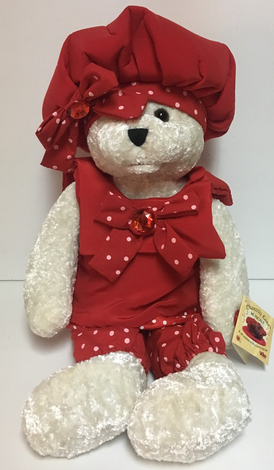 """Chantilly Lane Musicals Bear Red Hat Singing Top Of the World 22"""" NWT"""