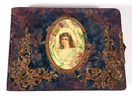Large Antique Vintage Rare Celluloid, Metal and Velvet Photo Album - Fre... - $79.48
