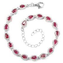 45CTS! SPECIAL!! NATURAL AAA BLOOD RED RUBY WHITE TOPAZ 925 SILVER BRACELET - $223.85 CAD