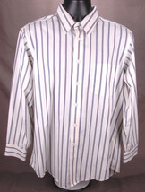 Hathaway Shirt-16 1/2-33-Striped-Button Up-Dress Up-Casual-Collar-White-... - $18.68
