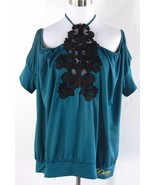 DEREON Plus Size Halter Off Shoulder Blouson To... - $19.98