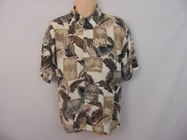 Campia Moda Beige Olive Hawaiian Button Front Shirt Short Sleeve Rayon L... - $13.09