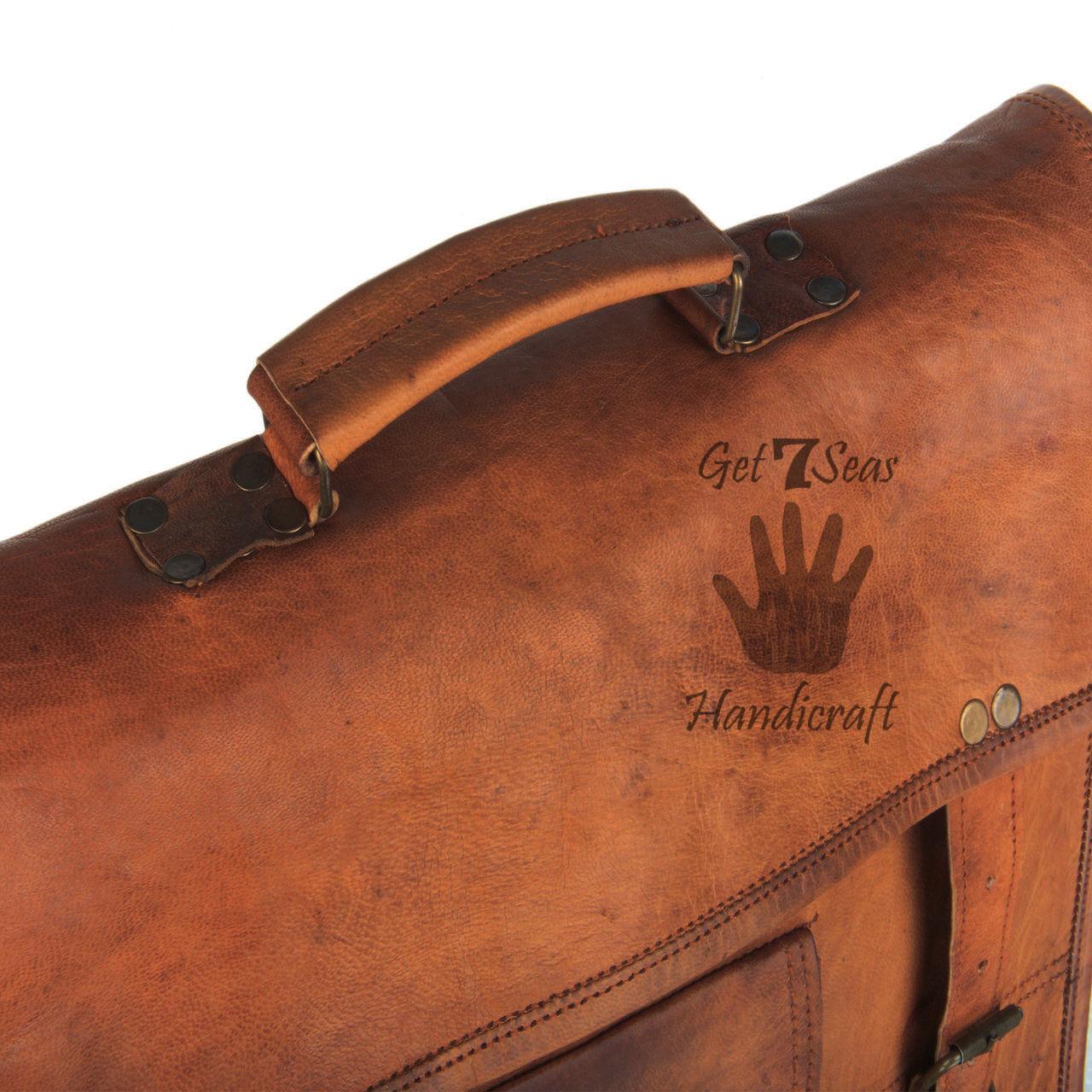 Men's genuine leather vintage laptop backpack rucksack messenger bag satchel men