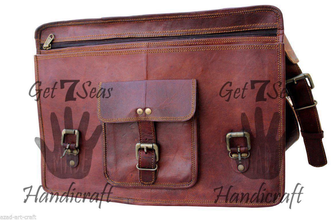Leather Messenger bag men's satchel shoulder women briefcase laptop vintage bags image 5