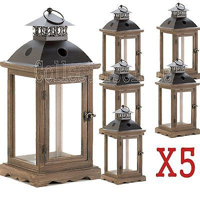 Set of 5 LARGE Rustic Wood Frame Monticello Candle Lanterns 18.5 H