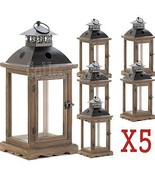 Set of 5 LARGE Rustic Wood Frame Monticello Candle Lanterns 18.5 H - $182.87