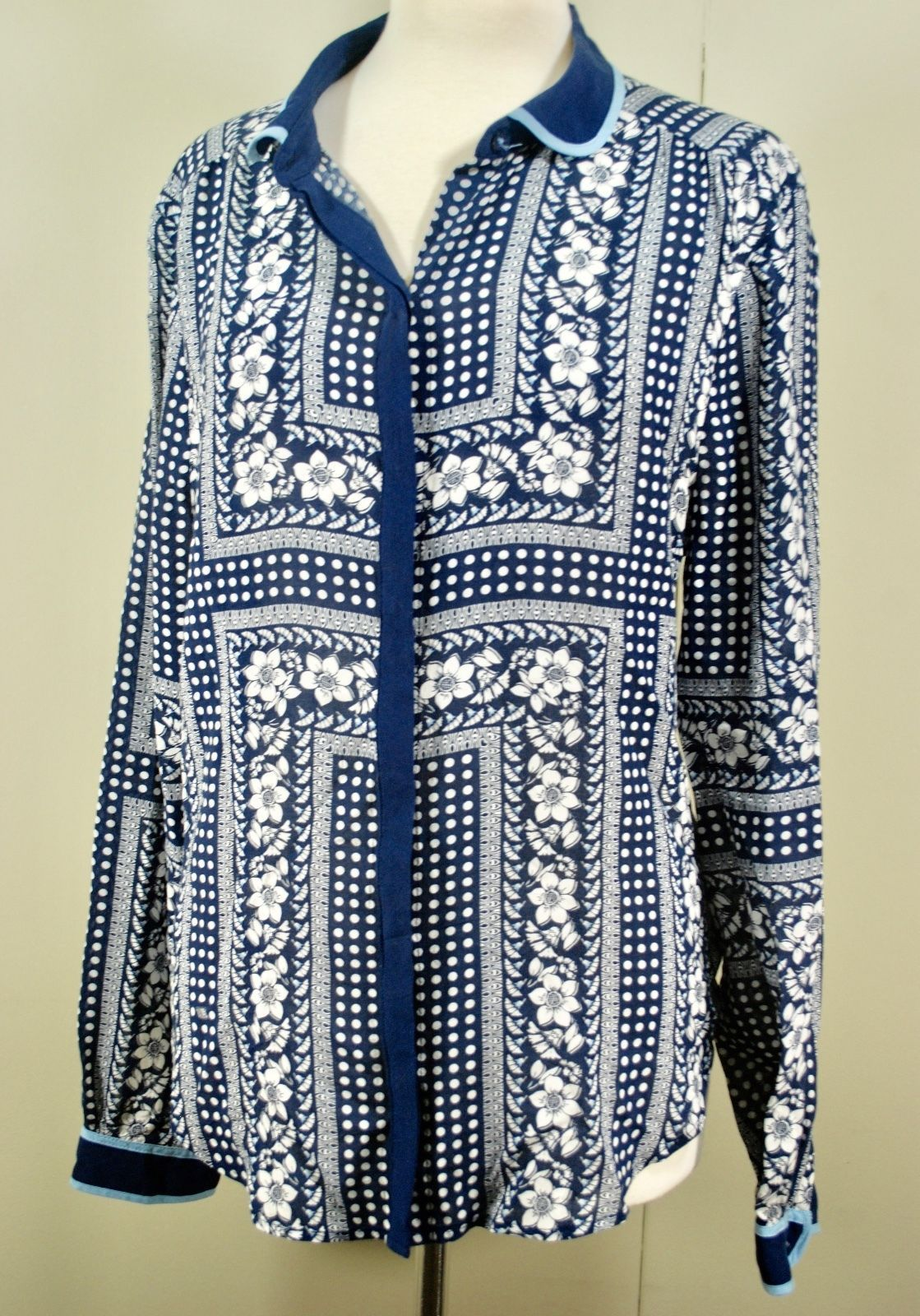 4d0920b73c1e0 57. 57. Previous. Anthropologie MAEVE Long Sleeve Button Front Blouse  Floral Polka Dot Lightweight