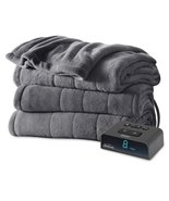 Sunbeam Microplush Heated Blanket with ComfortTech Controller, Twin, Slate - $68.59