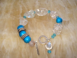 Rock crystal and Turquoise Beaded Bracelet - $22.00