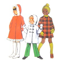 1970s Vintage Simplicity Sewing Pattern 5936 Childs Girls Winter Coat Ho... - $6.95