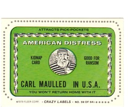 """1979 FLEER CRAZY LABELS  """"AMERICAN DISTRESS"""" #59 STICKER CARD ONLY 99 CE... - $0.99"""