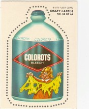 """1979 FLEER CRAZY LABELS  """"COLOROTS"""" #62 STICKER CARD ONLY 99 CENTS. - $0.99"""