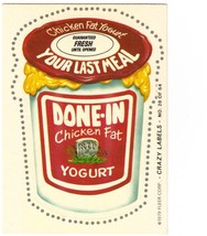 """1979 FLEER CRAZY LABELS """"DONE-IN YOGURT"""" #28 STICKER CARD ONLY 99 CENTS. - $0.99"""