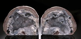Mirror Image Dugway Geode Bookend SET 11.75 Inches! Brilliant Colors All... - $369.00