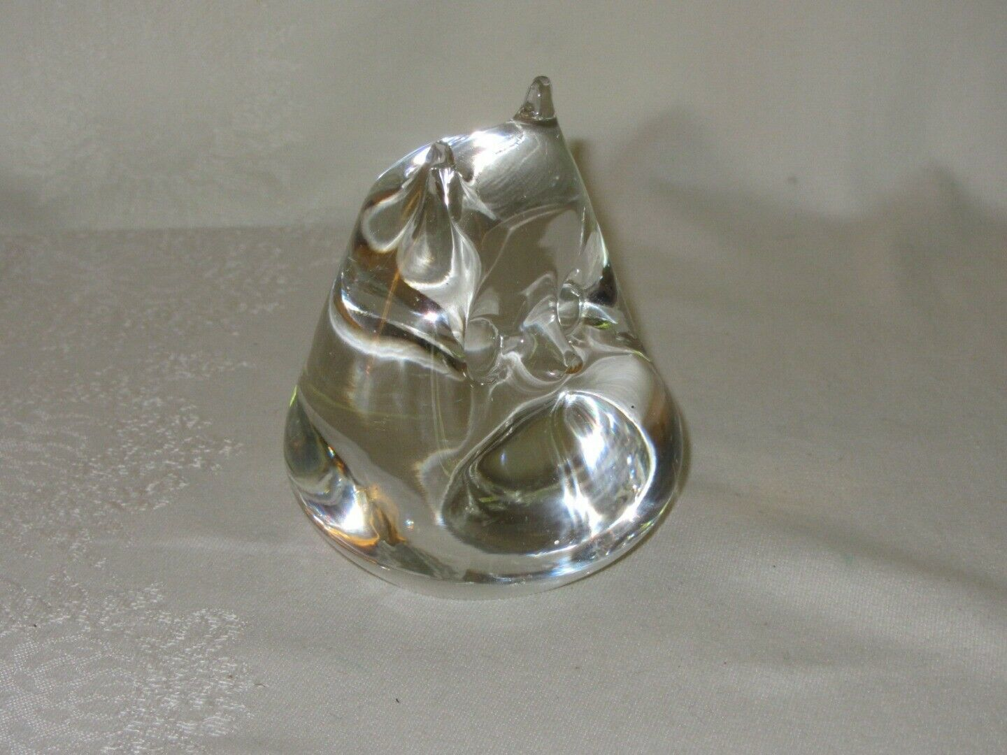 Solid Clear Glass Owl Vintage Paperweight Smooth Figurine image 7