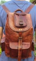 Real genuine men's leather backpack bag laptop briefcase satchel brown vintage image 4