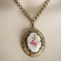 Vintage Art Nouveau Guilloche Enamel Locket Necklace - $75.00