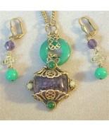 OOAK Vintage Renaissance Revival Parure Art Glass Necklace Earrings - $127.50