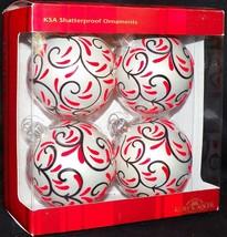 Set Of Four Kurt Adler Flocked Art Noveau KSA Shatterproof Christmas Ornaments - $24.99